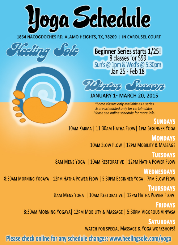 2015 winter yoga schedule in alamo heights san antonio texas